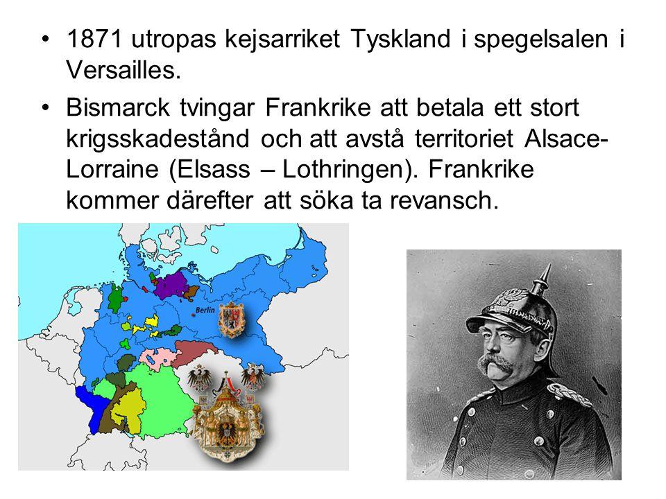 1871 utropas kejsarriket Tyskland i spegelsalen i Versailles.
