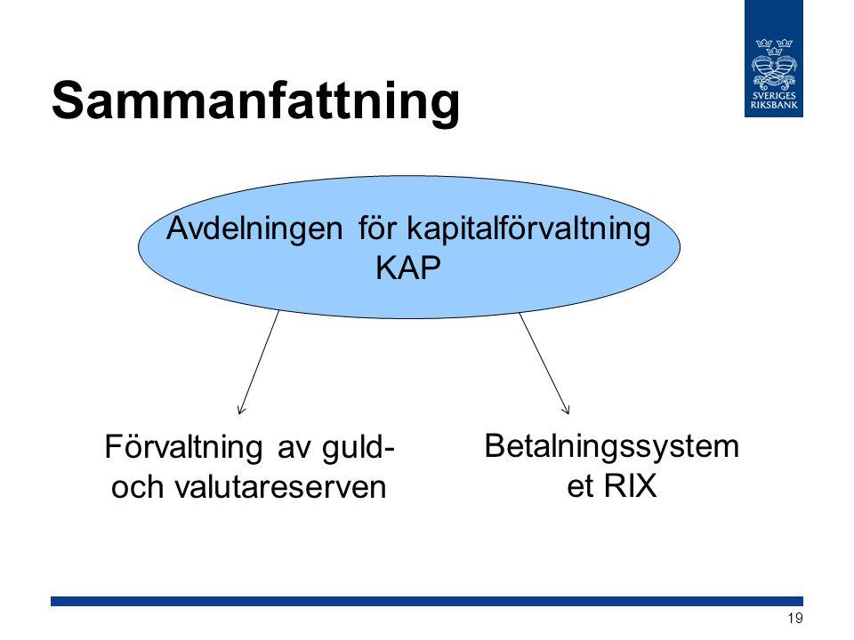 Sammanfattning Avdelningen för kapitalförvaltning KAP