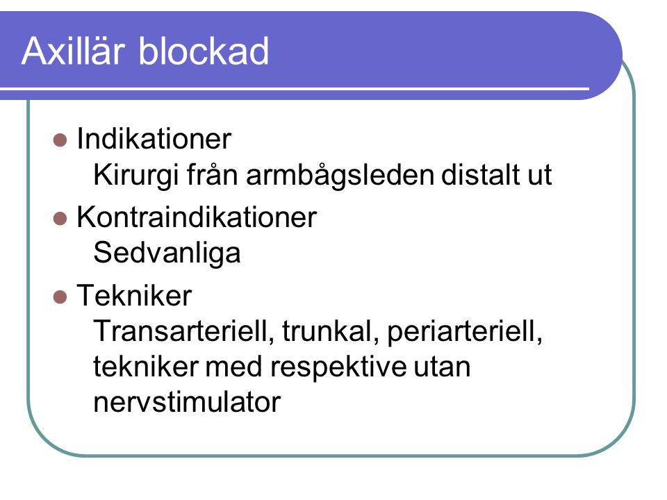 Axillär blockad Indikationer Kirurgi från armbågsleden distalt ut