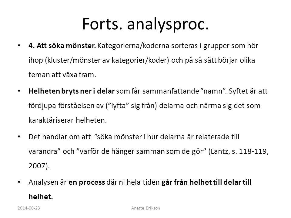 Forts. analysproc.