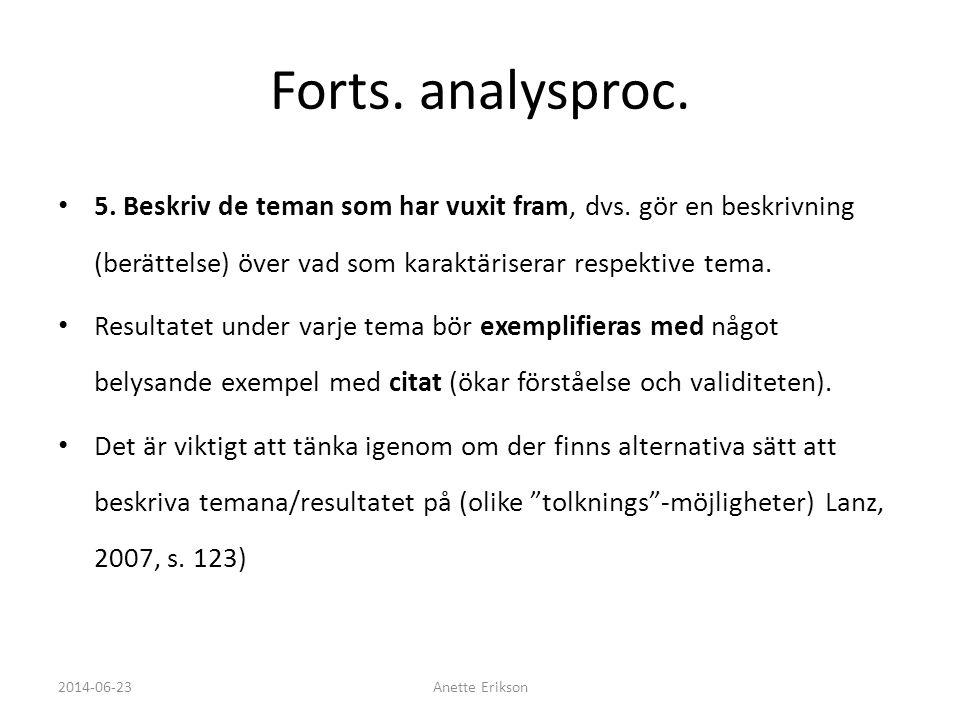 Forts. analysproc. 5. Beskriv de teman som har vuxit fram, dvs. gör en beskrivning (berättelse) över vad som karaktäriserar respektive tema.