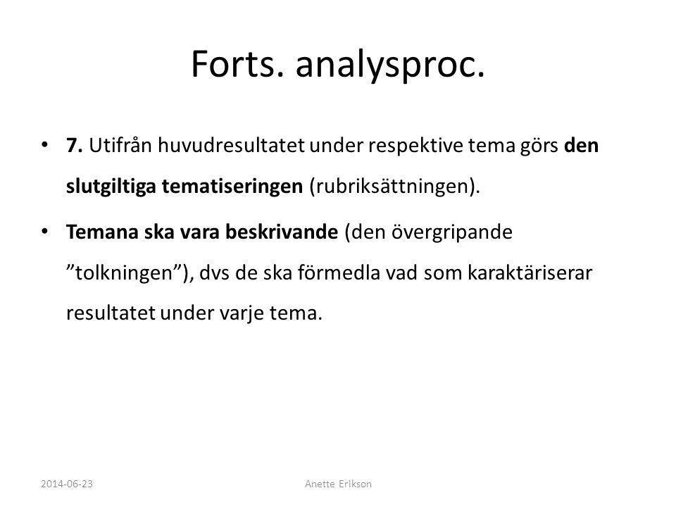 Forts. analysproc. 7. Utifrån huvudresultatet under respektive tema görs den slutgiltiga tematiseringen (rubriksättningen).