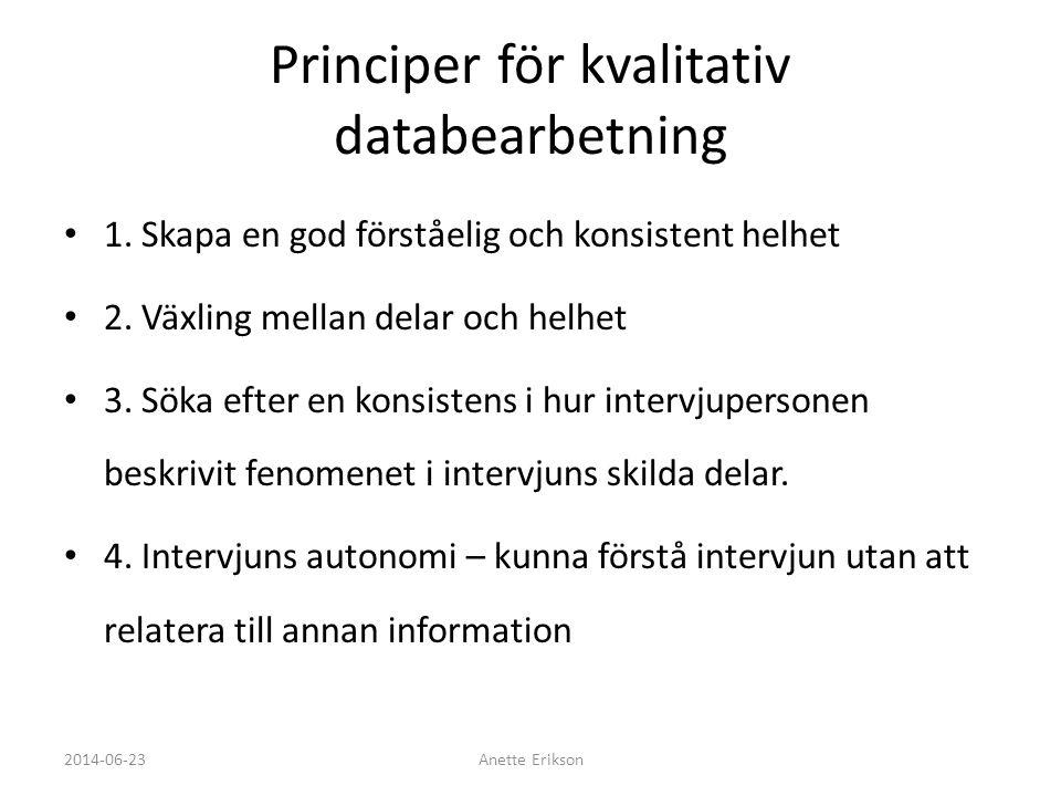 Principer för kvalitativ databearbetning