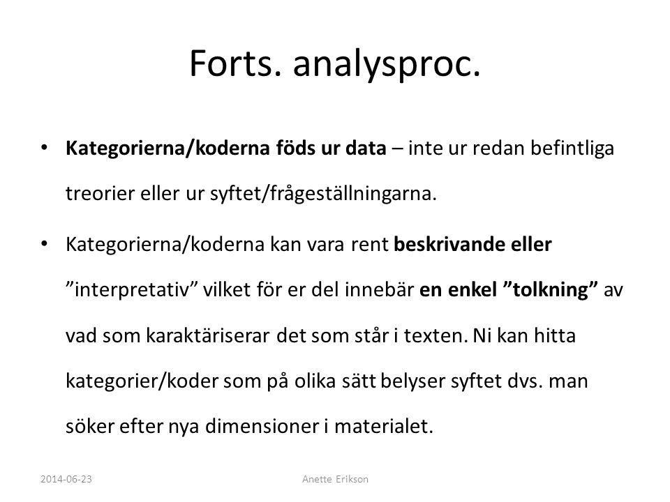 Forts. analysproc. Kategorierna/koderna föds ur data – inte ur redan befintliga treorier eller ur syftet/frågeställningarna.