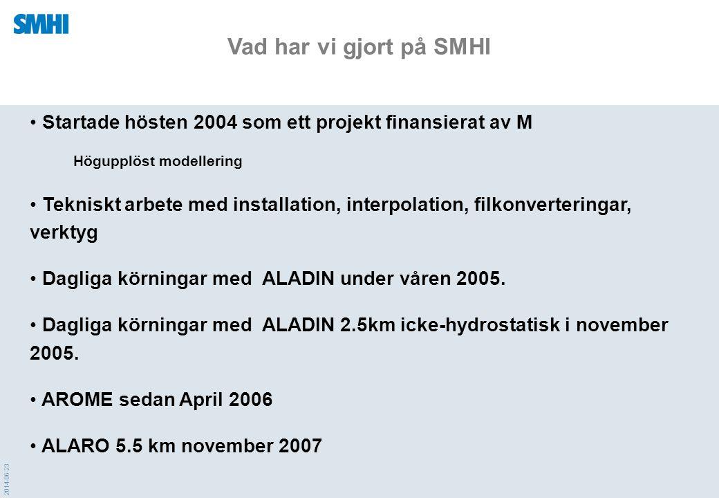 Vad har vi gjort på SMHI Startade hösten 2004 som ett projekt finansierat av M. Högupplöst modellering.