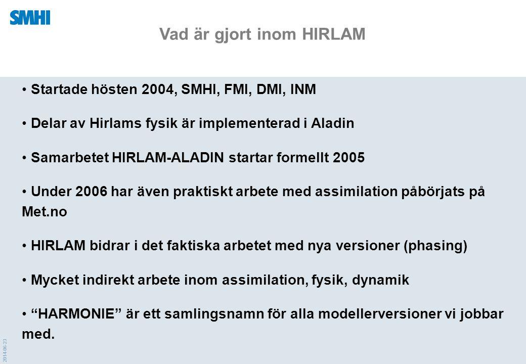Vad är gjort inom HIRLAM