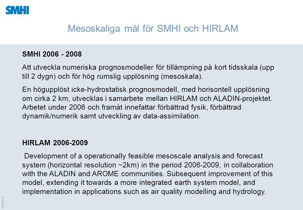 Mesoskaliga mål för SMHI och HIRLAM