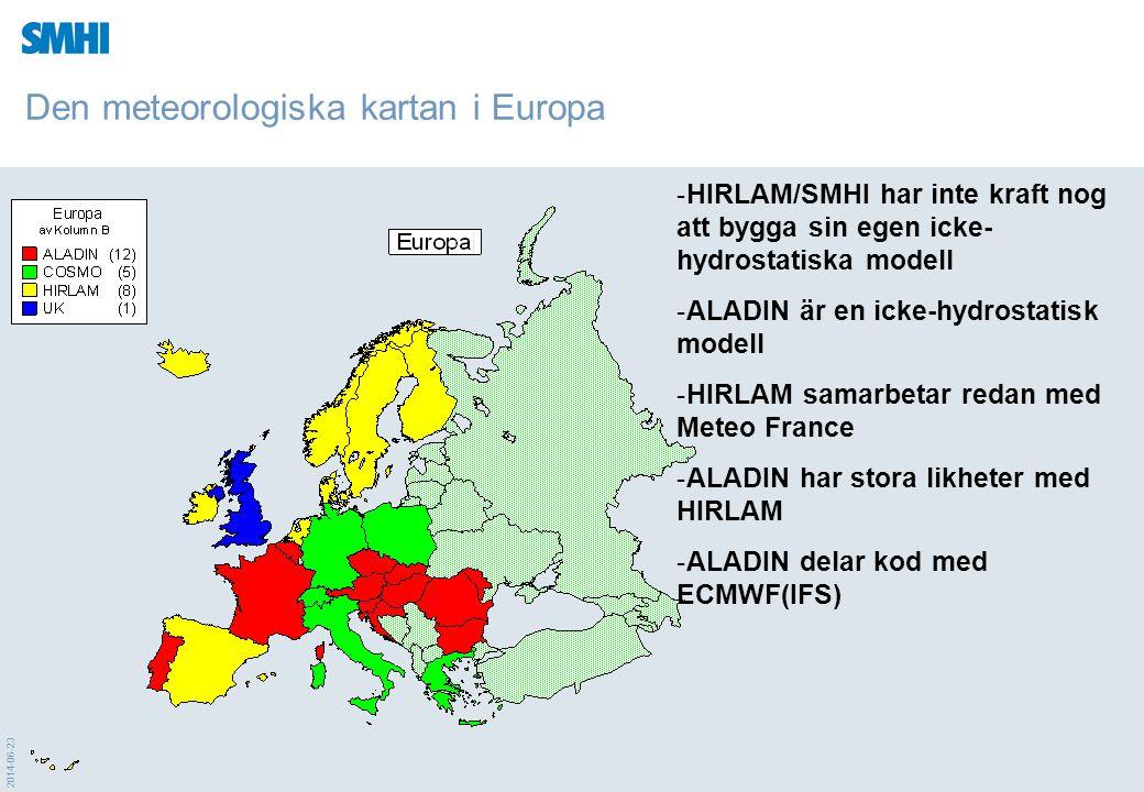 Den meteorologiska kartan i Europa