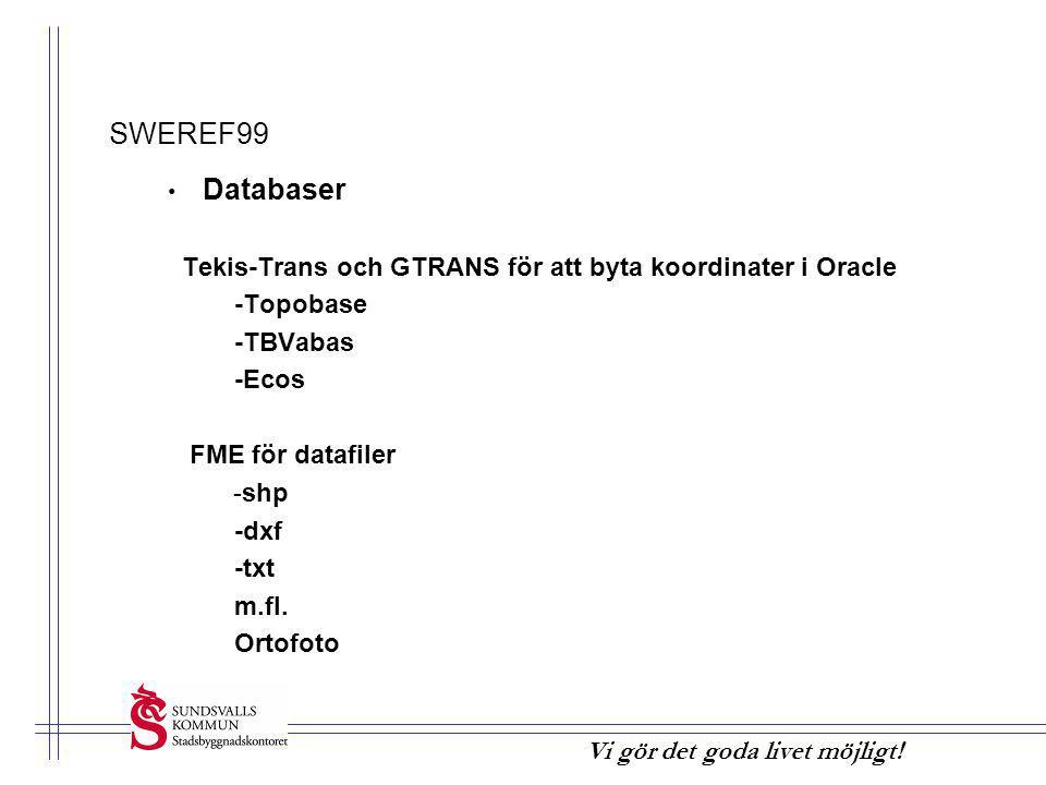 SWEREF99 Tekis-Trans och GTRANS för att byta koordinater i Oracle