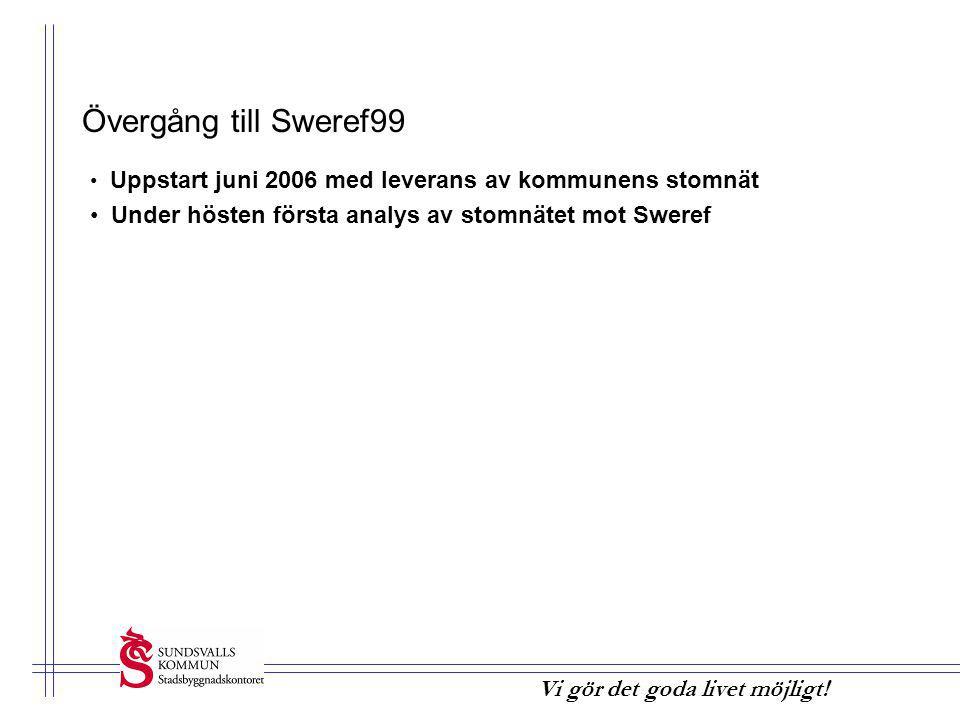 Övergång till Sweref99 Uppstart juni 2006 med leverans av kommunens stomnät.