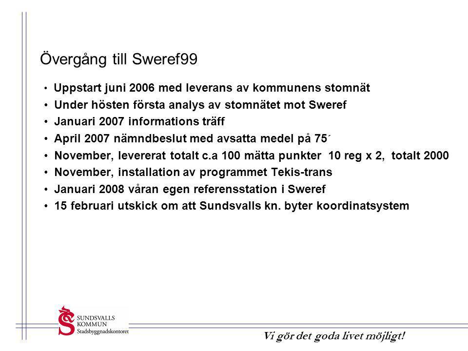 Övergång till Sweref99 Uppstart juni 2006 med leverans av kommunens stomnät. Under hösten första analys av stomnätet mot Sweref.