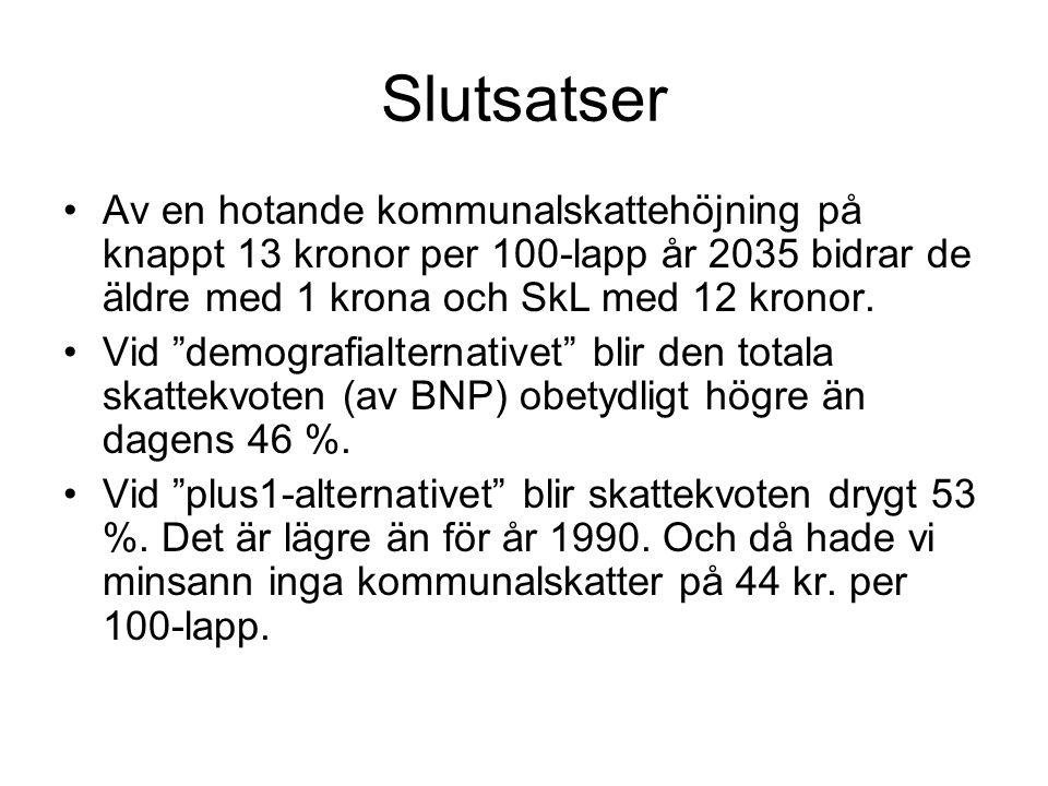 Slutsatser Av en hotande kommunalskattehöjning på knappt 13 kronor per 100-lapp år 2035 bidrar de äldre med 1 krona och SkL med 12 kronor.
