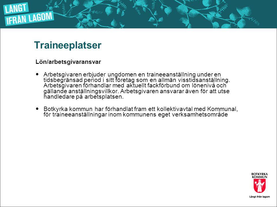 Traineeplatser Lön/arbetsgivaransvar