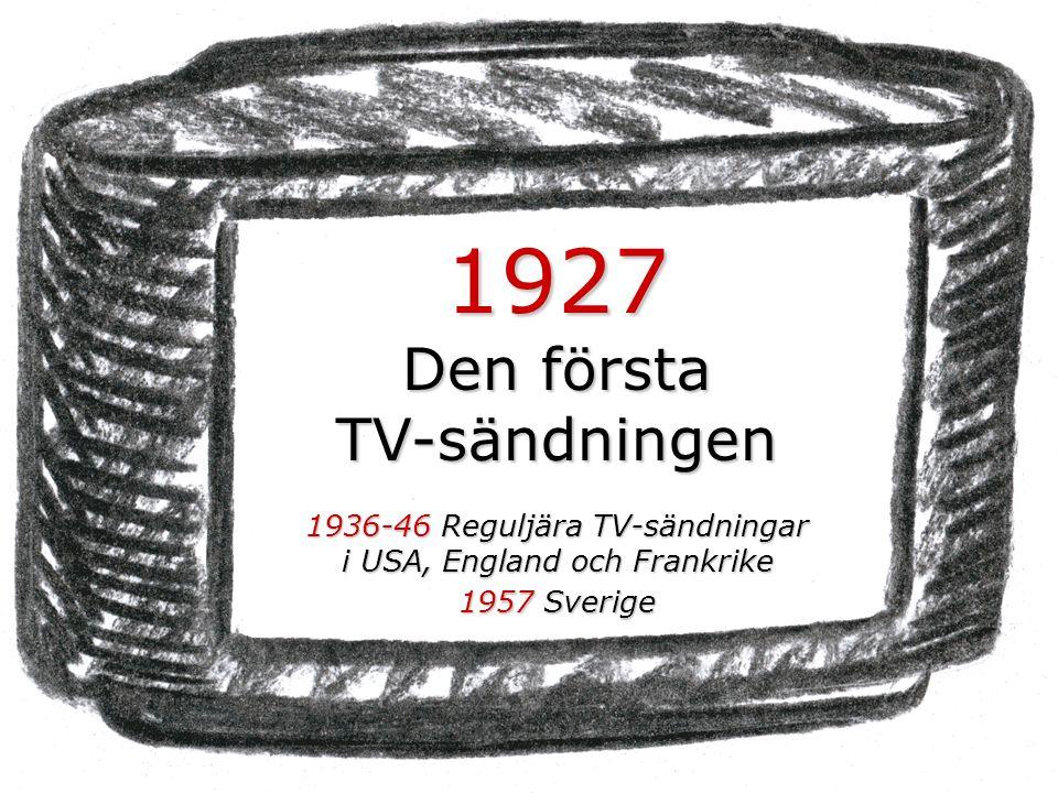 1927 Den första TV-sändningen 1936-46 Reguljära TV-sändningar