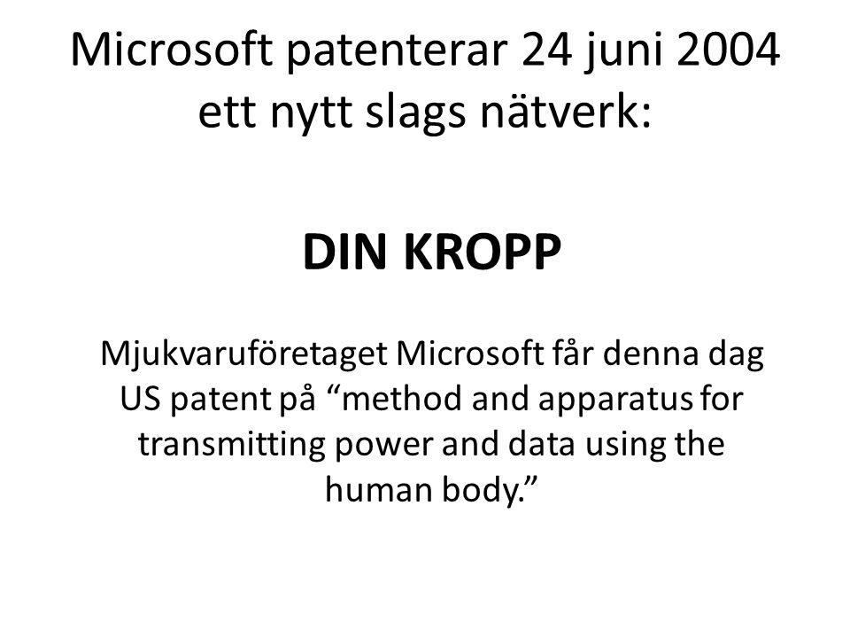 Microsoft patenterar 24 juni 2004 ett nytt slags nätverk: