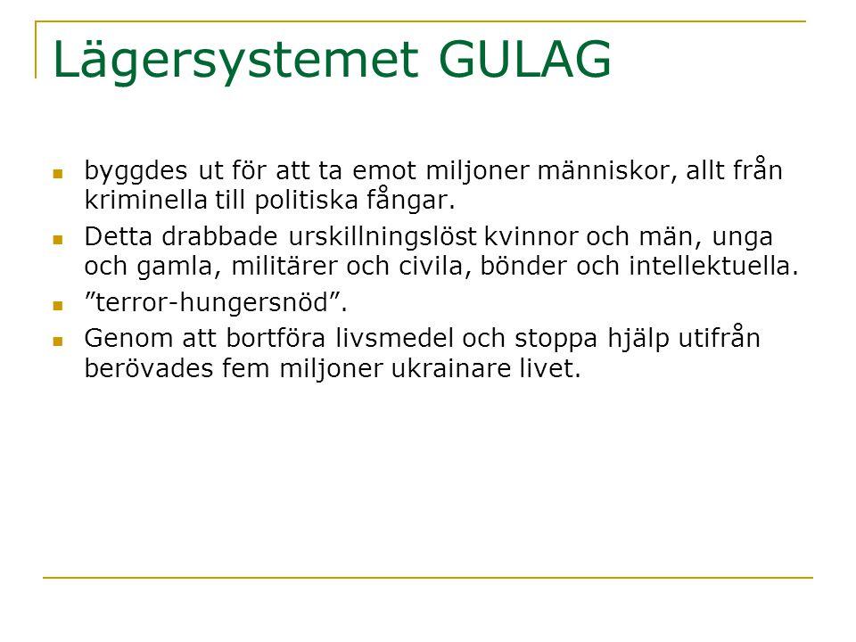 Lägersystemet GULAG byggdes ut för att ta emot miljoner människor, allt från kriminella till politiska fångar.