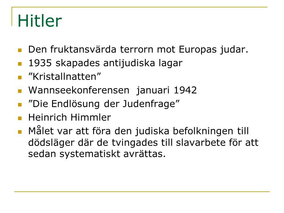 Hitler Den fruktansvärda terrorn mot Europas judar.