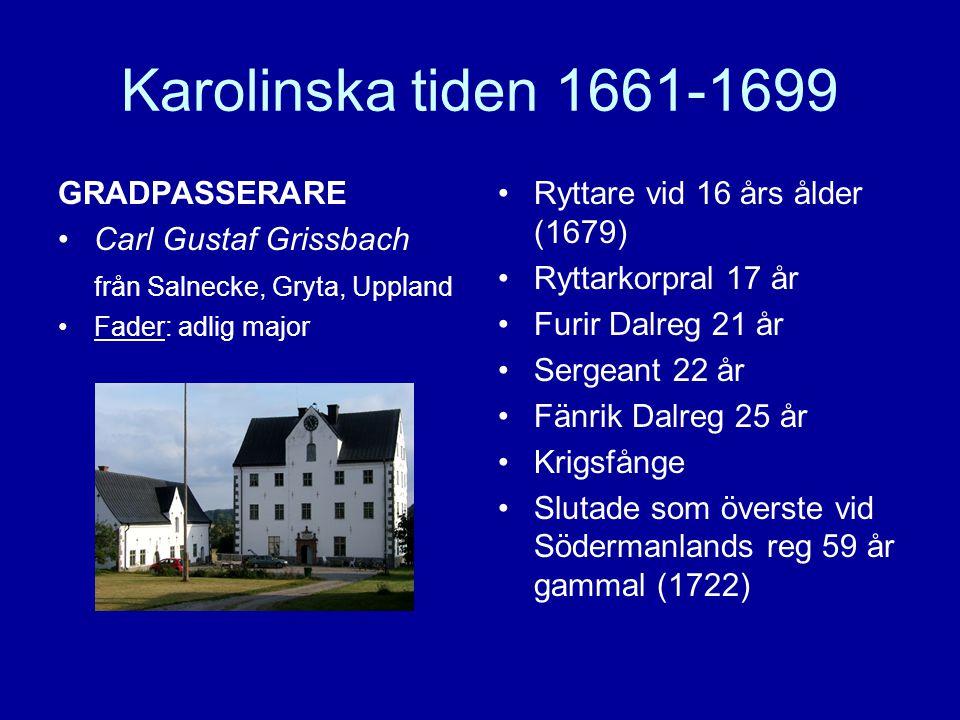 Karolinska tiden 1661-1699 GRADPASSERARE Carl Gustaf Grissbach