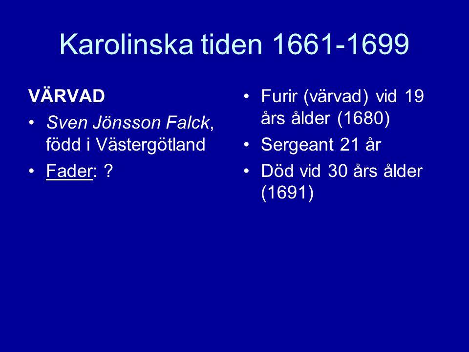 Karolinska tiden 1661-1699 VÄRVAD