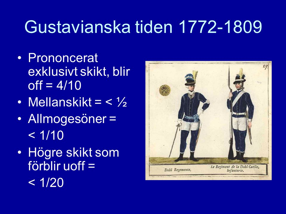 Gustavianska tiden 1772-1809 Prononcerat exklusivt skikt, blir off = 4/10. Mellanskikt = < ½. Allmogesöner =