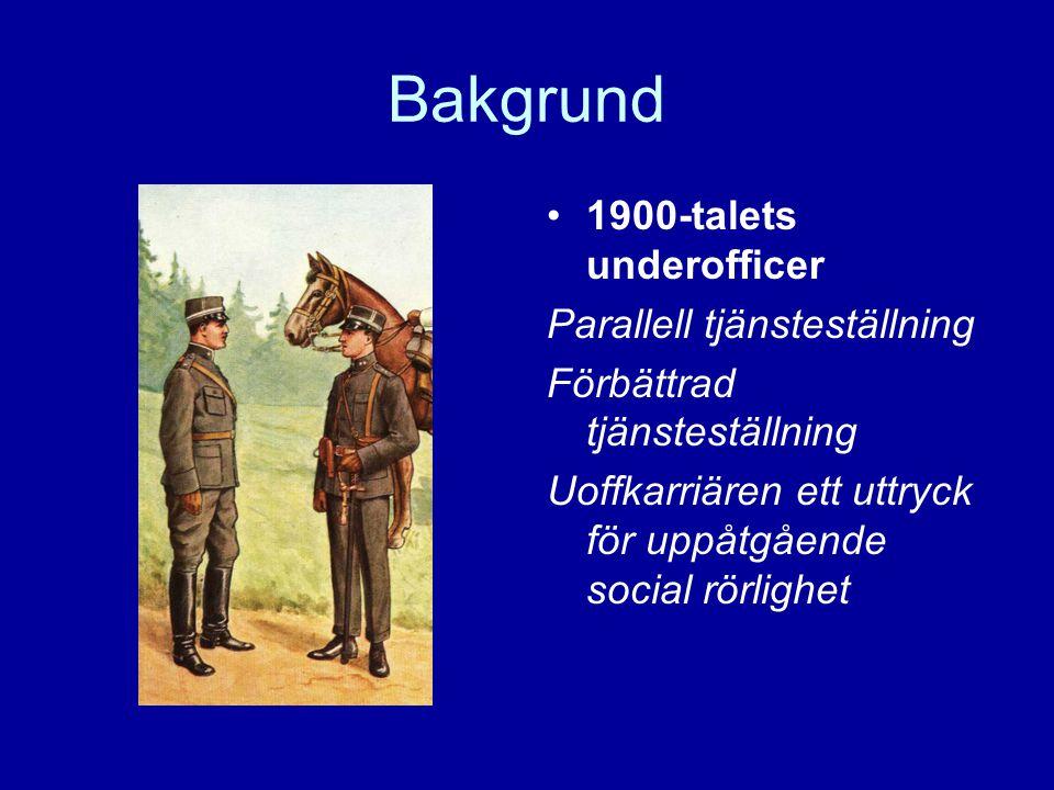 Bakgrund 1900-talets underofficer Parallell tjänsteställning