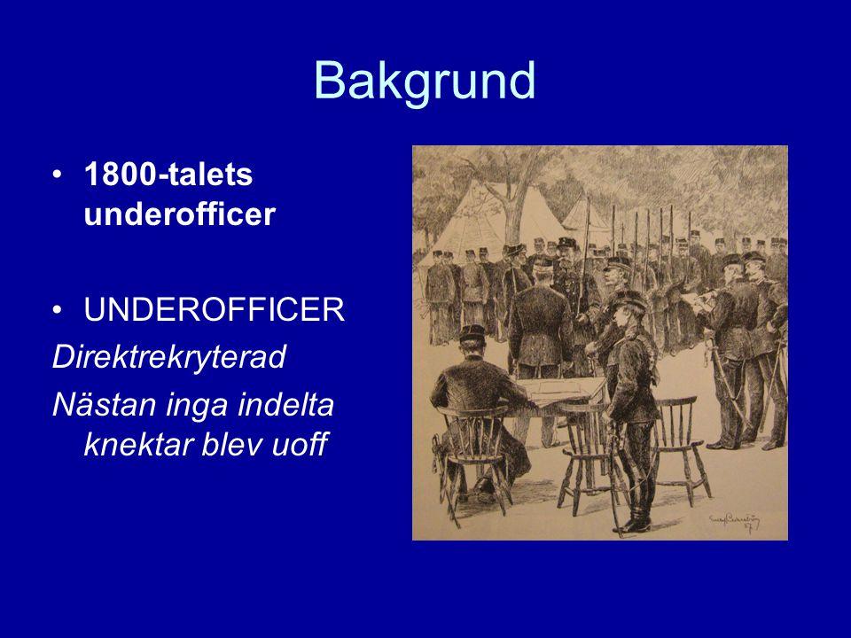 Bakgrund 1800-talets underofficer UNDEROFFICER Direktrekryterad