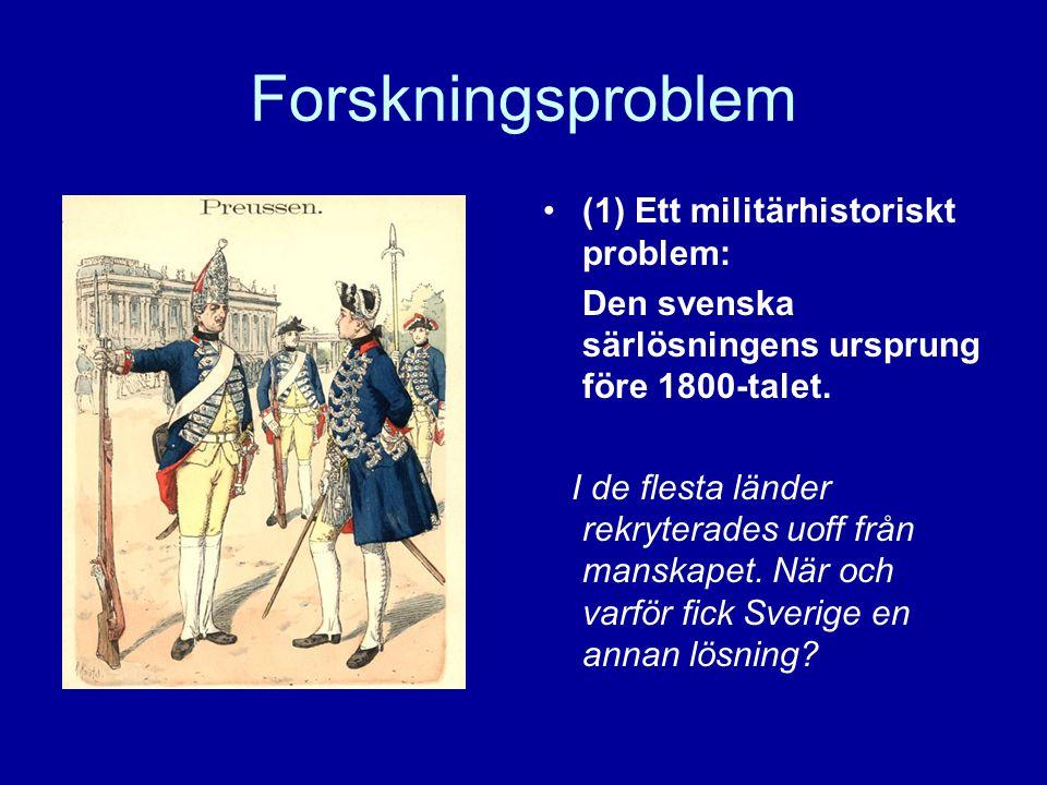 Forskningsproblem (1) Ett militärhistoriskt problem: