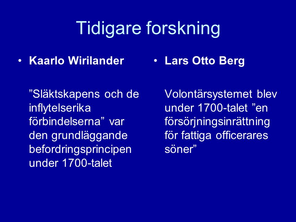 Tidigare forskning Kaarlo Wirilander