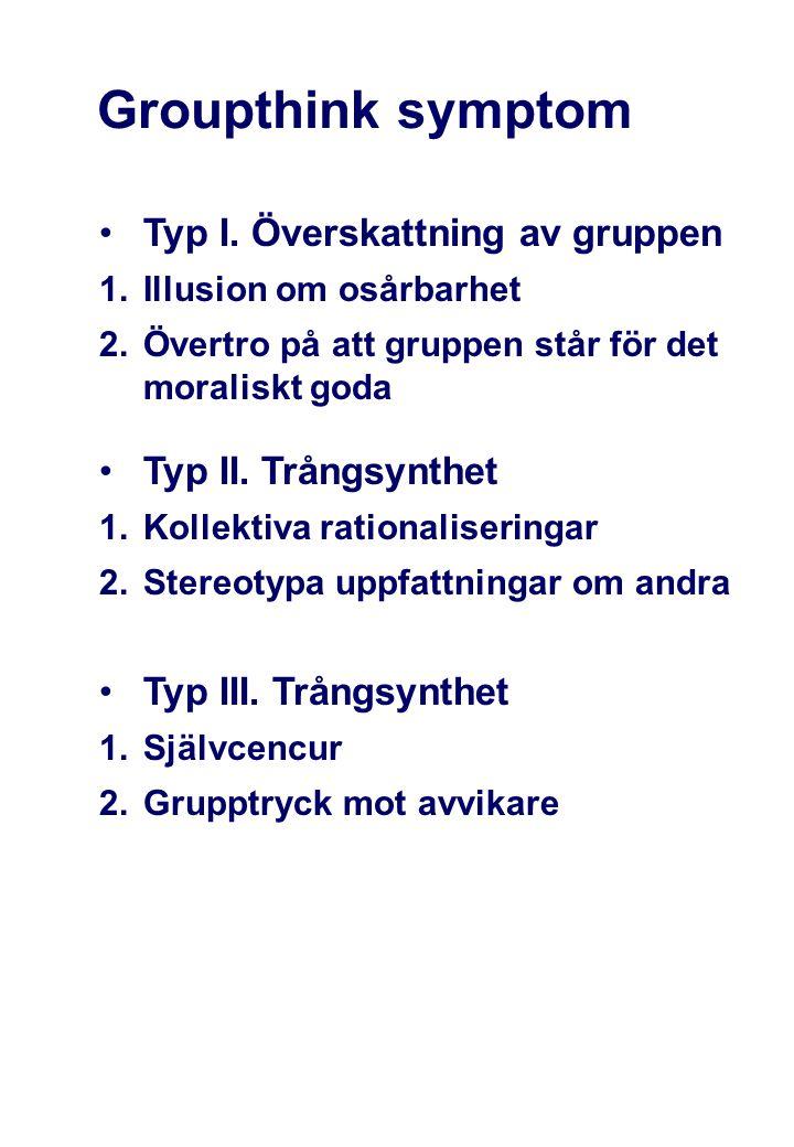 Groupthink symptom Typ I. Överskattning av gruppen