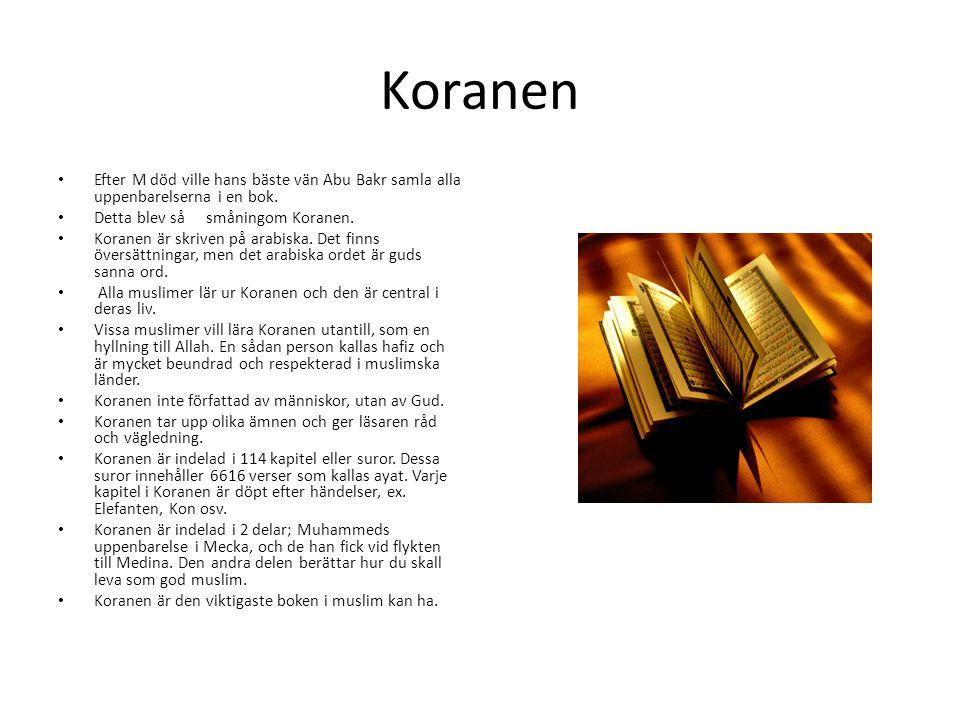 Koranen Efter M död ville hans bäste vän Abu Bakr samla alla uppenbarelserna i en bok. Detta blev så småningom Koranen.