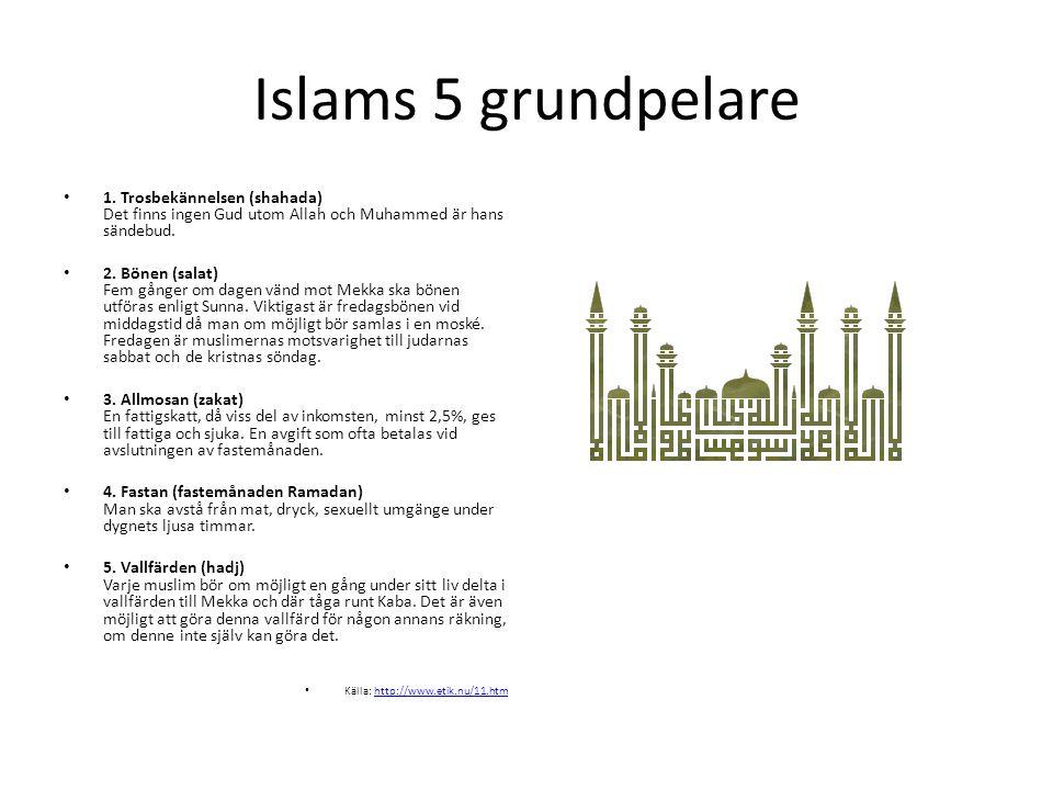 Islams 5 grundpelare 1. Trosbekännelsen (shahada) Det finns ingen Gud utom Allah och Muhammed är hans sändebud.