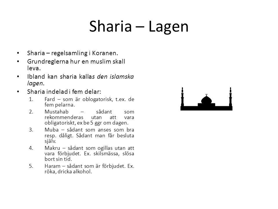 Sharia – Lagen Sharia – regelsamling i Koranen.