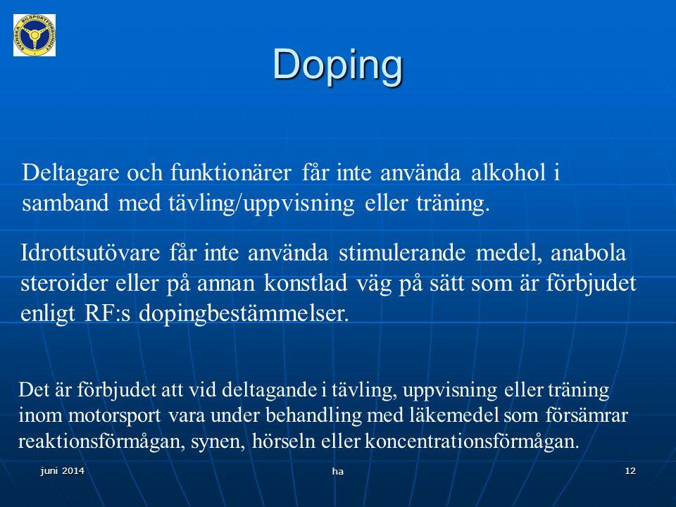 Doping Deltagare och funktionärer får inte använda alkohol i samband med tävling/uppvisning eller träning.