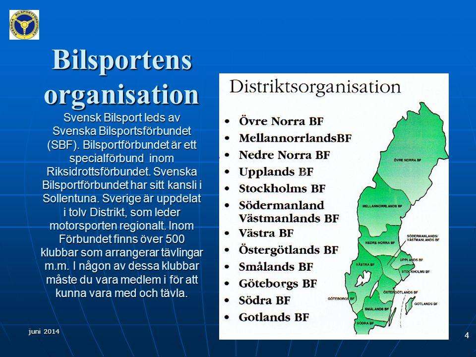 Bilsportens organisation Svensk Bilsport leds av Svenska Bilsportsförbundet (SBF). Bilsportförbundet är ett specialförbund inom Riksidrottsförbundet. Svenska Bilsportförbundet har sitt kansli i Sollentuna. Sverige är uppdelat i tolv Distrikt, som leder motorsporten regionalt. Inom Förbundet finns över 500 klubbar som arrangerar tävlingar m.m. I någon av dessa klubbar måste du vara medlem i för att kunna vara med och tävla.