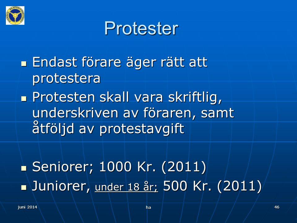 Protester Endast förare äger rätt att protestera