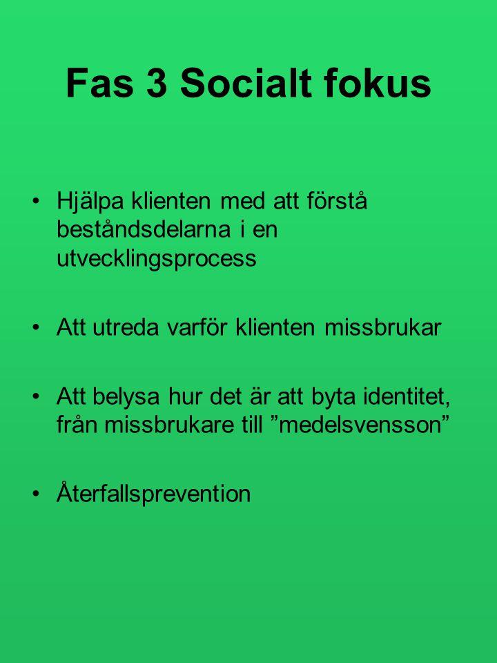 Fas 3 Socialt fokus Hjälpa klienten med att förstå beståndsdelarna i en utvecklingsprocess. Att utreda varför klienten missbrukar.
