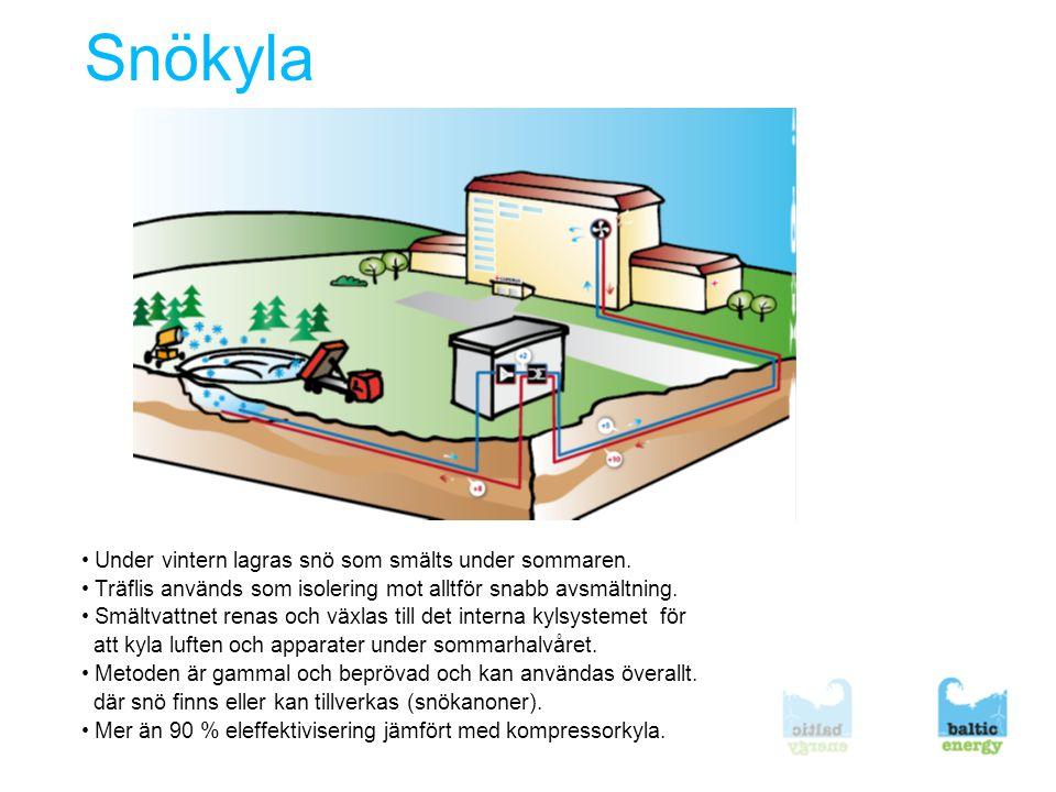 Snökyla • Under vintern lagras snö som smälts under sommaren.