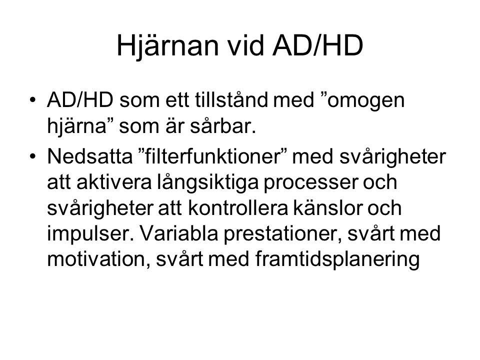 Hjärnan vid AD/HD AD/HD som ett tillstånd med omogen hjärna som är sårbar.