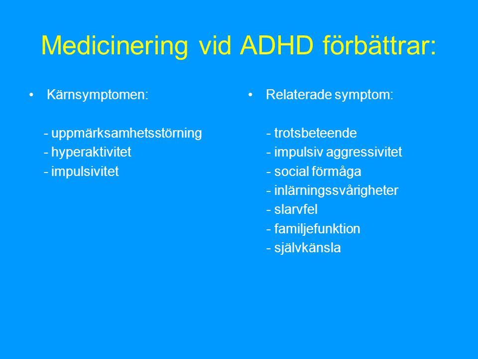 Medicinering vid ADHD förbättrar: