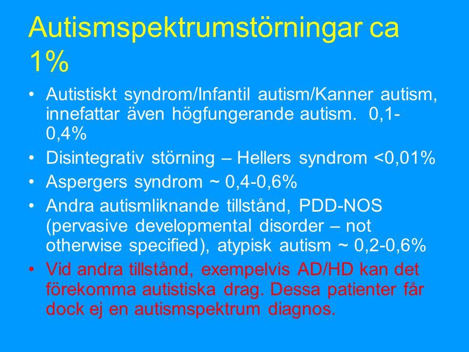 Autismspektrumstörningar ca 1%