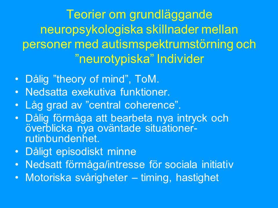 Teorier om grundläggande neuropsykologiska skillnader mellan personer med autismspektrumstörning och neurotypiska Individer