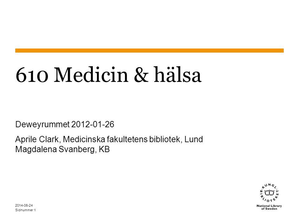 610 Medicin & hälsa Deweyrummet 2012-01-26