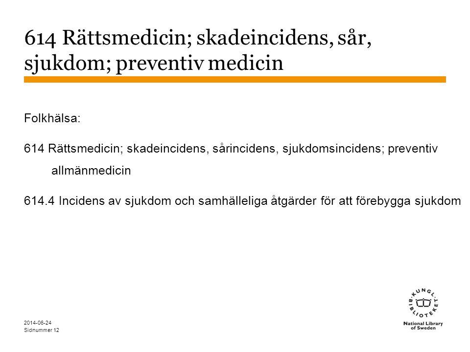 614 Rättsmedicin; skadeincidens, sår, sjukdom; preventiv medicin