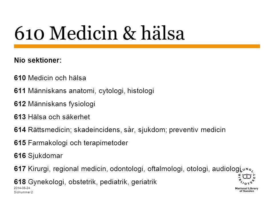 610 Medicin & hälsa Nio sektioner: