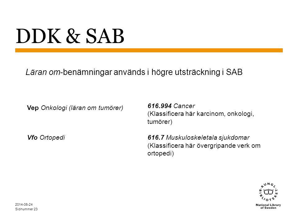 Läran om-benämningar används i högre utsträckning i SAB