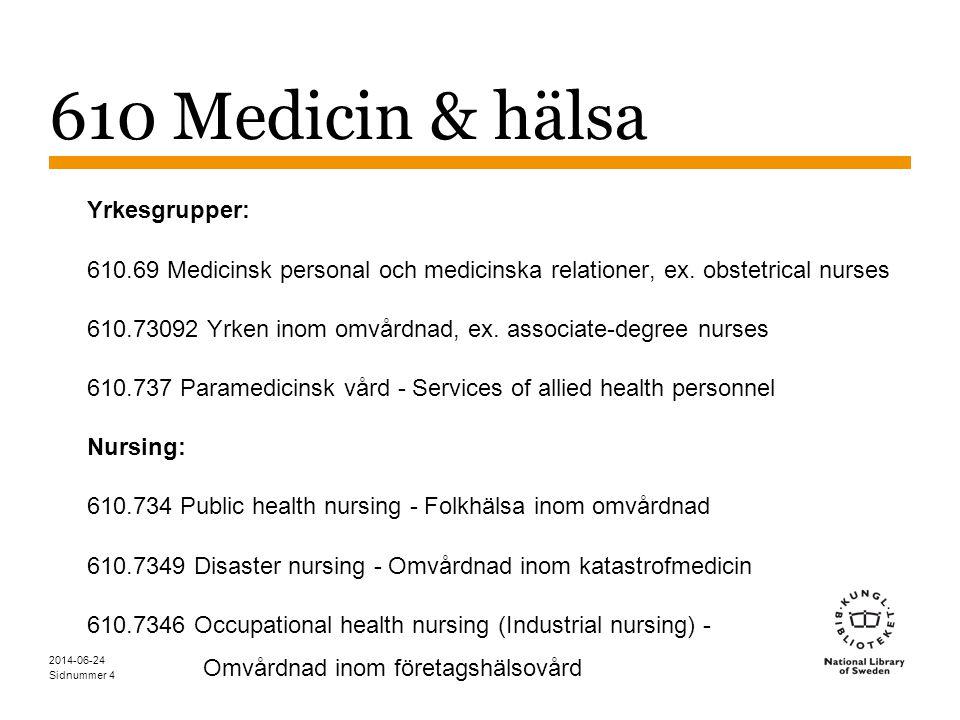 610 Medicin & hälsa Yrkesgrupper: