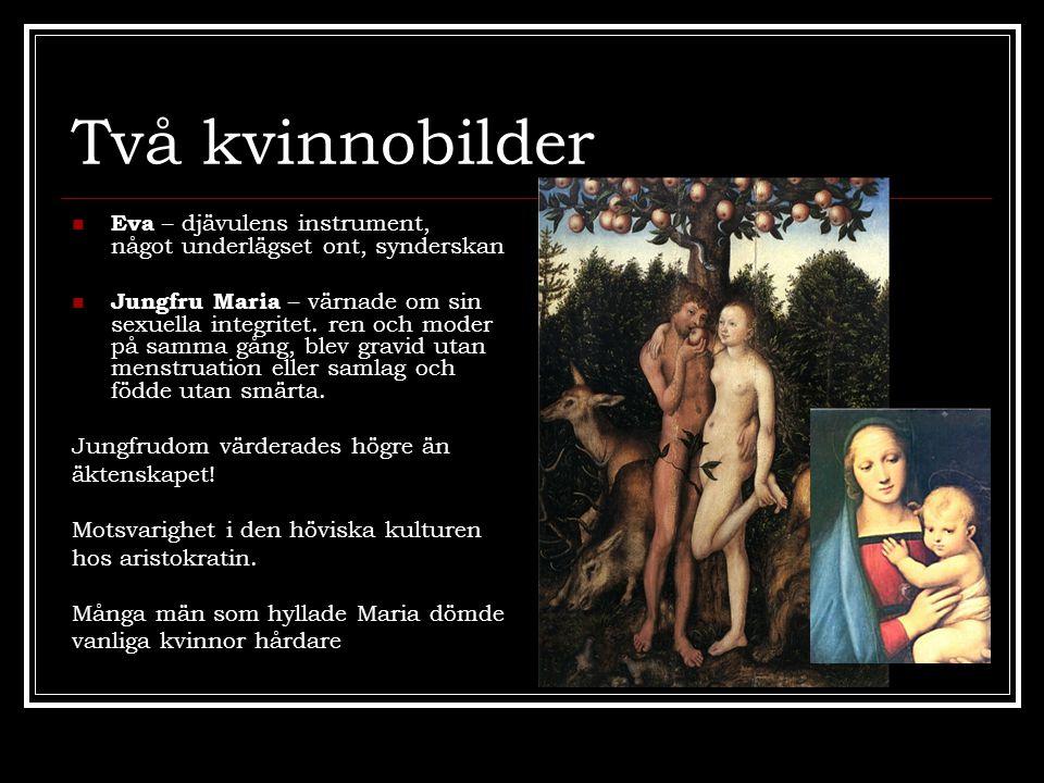 Två kvinnobilder Eva – djävulens instrument, något underlägset ont, synderskan.