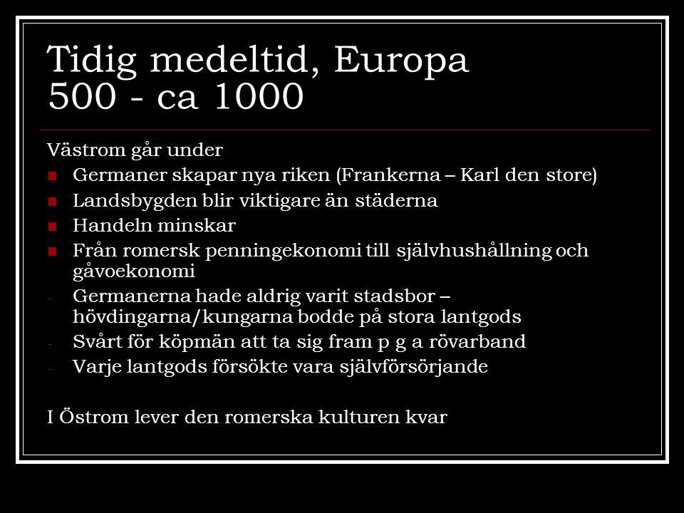 Tidig medeltid, Europa 500 - ca 1000