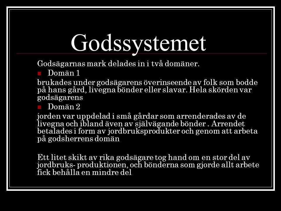 Godssystemet Godsägarnas mark delades in i två domäner. Domän 1