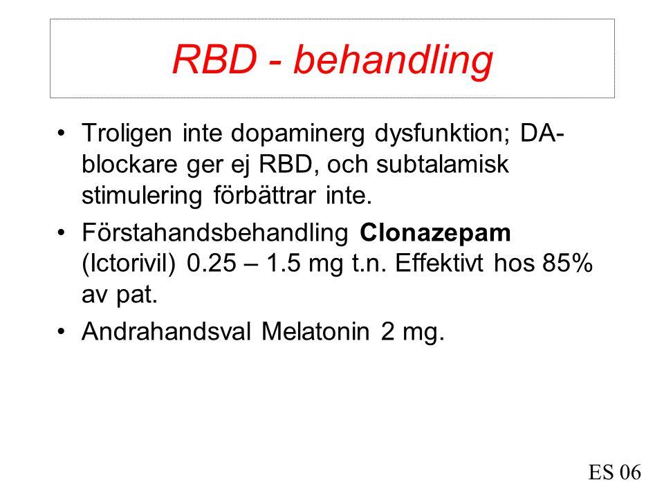 RBD - behandling Troligen inte dopaminerg dysfunktion; DA-blockare ger ej RBD, och subtalamisk stimulering förbättrar inte.